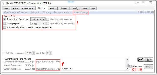 تغییر فریم ریت در نرم افزار Hybrid - x264 - x265